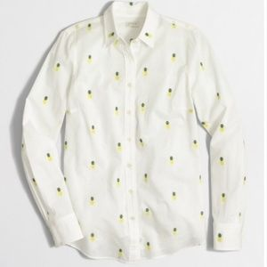 J. Crew Factory Embroidered Pineapple Button Down